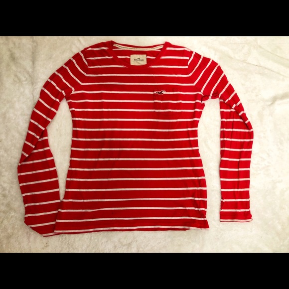 095adc54fc Hollister Tops | Red Striped Long Sleeve Size M | Poshmark